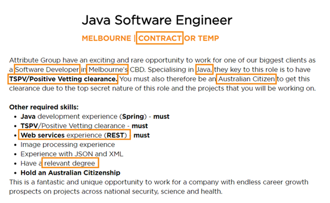 i am an australian citizen with over 6 years experience as a java software engineer at abc systems i have a degree in computer science and have